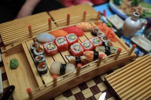 uppsättning sushi foto