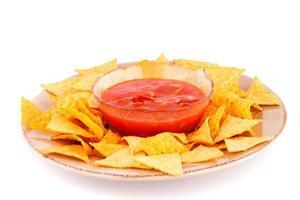 nachos och röd sås foto