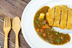 japansk curry och tonkatsu foto