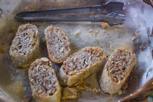 stekt taro, krispig mat, vegetarisk mat foto