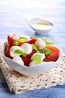 mozzarella, tomater och basilika foto
