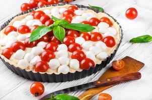 paj med mozzarella, kyckling och tomater. foto
