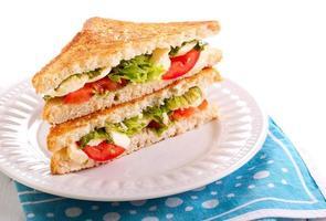 mozzarella och tomatgrillad smörgås foto