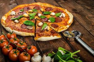 rustik pizza med salami, mozzarella och spenat