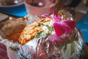 curry streamade skaldjur, thailändsk mat foto