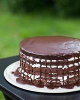 chokladlager kaka droppande med frosting foto