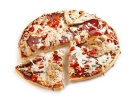 kött- och kycklingpizza foto