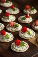cracker och ost hors d'oeuvres foto