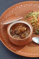 vegetabilisk manchurian och stekt ris foto