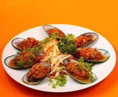 bakade musslor foto