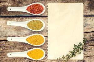 kryddor recept bakgrund. foto