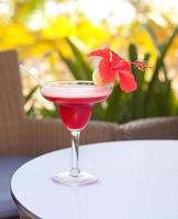 alkohol margarita cocktail med lime och hibiskusblomma foto