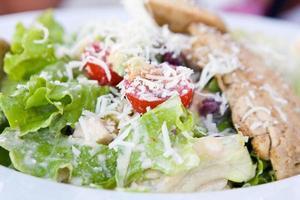 hälsosam sallad med kyckling och grönsaker i skål