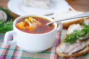 grönsakssoppa med blomkål och rödbetor foto