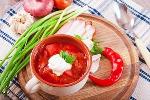 röd tomatsoppa med rödbetor och gräddfil foto
