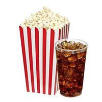 popcorn i låda med cola foto