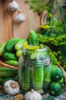 burk pickles andra ingredienser betning foto