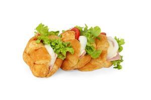 färsk smörgås med skinka och grönsaker foto
