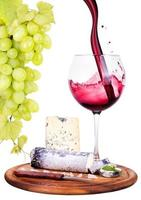 picknickbakgrund med vin och mat foto
