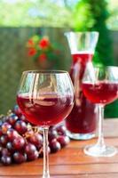 två glas läckert hemlagat rött vin med druva. foto