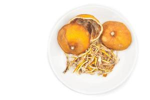 torkad citron citrusskal i vit bakgrund foto