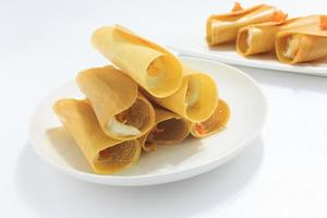 thai krispig pannkaka, thailändsk efterrätt foto