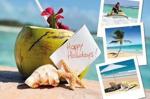 kokosnötter cocktail, sjöstjärna och bilder foto