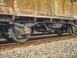 tåghjul, gammalt godståg foto