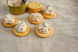 cracker med tonfiskspridning foto