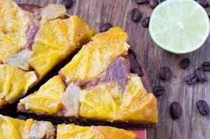 orange tårta, kaka, efterrätt foto