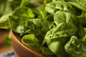 rå grön organisk baby spenat foto