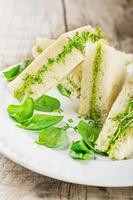 rostat bröd med avokadopasta och vattenkrasse foto