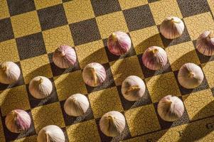 vitlök på ett schackbräde foto