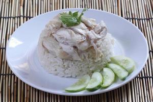 ånga kyckling med ris foto
