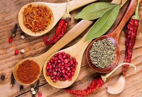 olika kryddor i skedarna foto