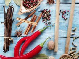 kryddor på gamla träbord. foto