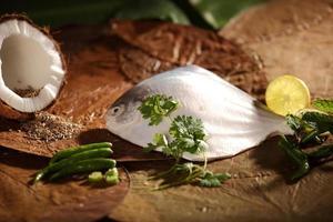 ingredienser för utsökt bakad / ångad parsi-skål. foto