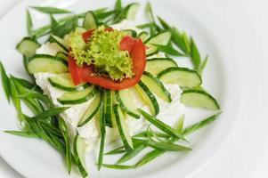 grönsakssallad med gurkor, sallad, tomater och ost foto