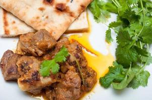 lamm curry cirrander och naan foto
