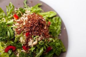 quinoasallad med gröna blad, basilika, röd paprika, cashewnötter,