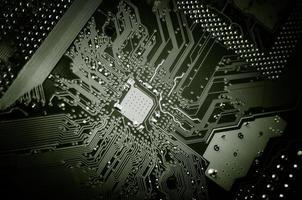 tryckt kretskort. högteknologisk bakgrund. foto