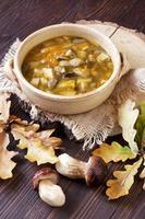 svamp soppa i keramisk skål