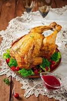 stekt kyckling med tranbärssås foto
