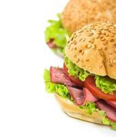 smörgåsar med skinka och tomater foto