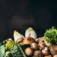 säsong grönsaker för matlagning över mörk bakgrund