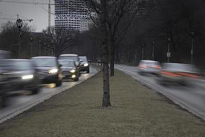 morgontrafik i staden foto