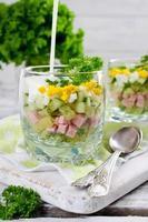 ryska vår- och sommar kall soppa med kefir foto