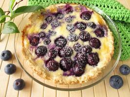 blåbärskaka med pulveriserat socker foto