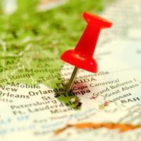 Ortos stadspinne på kartan foto