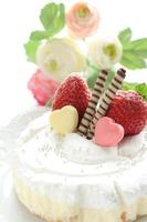 hemlagad jordgubbstårta foto